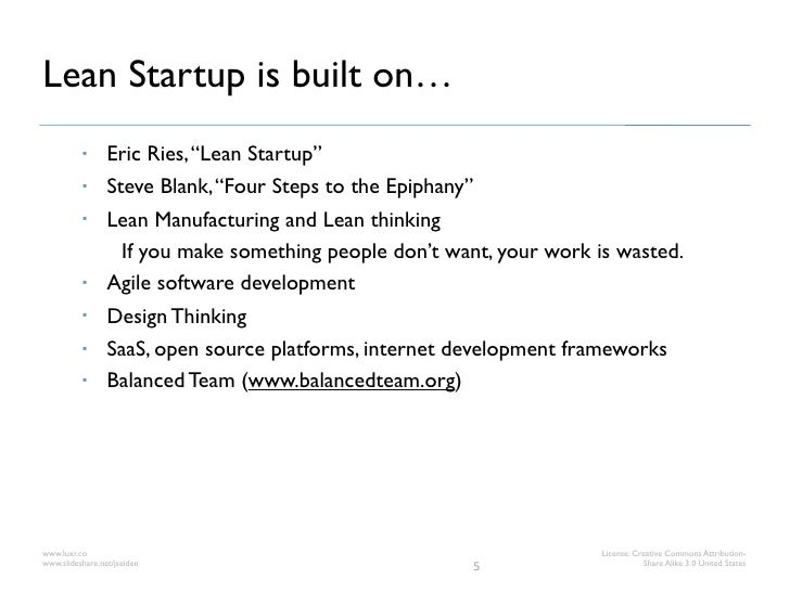 """Lean Startup is built on…                Eric Ries, """"Lean Startup""""                Steve Blank, """"Four Steps to the Epipha..."""