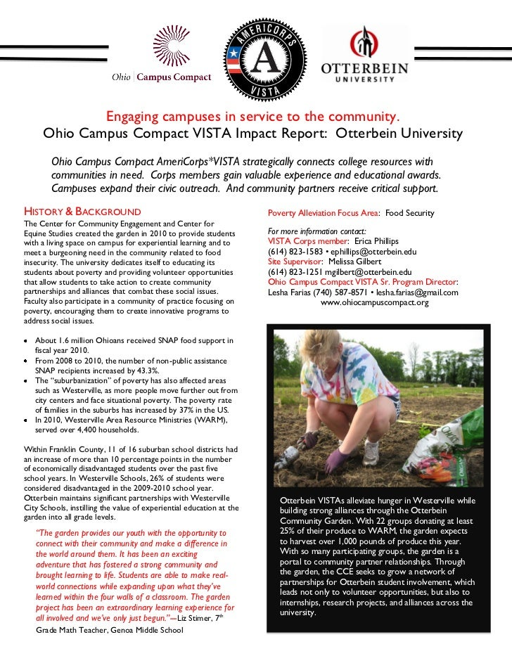 Engaging campuses in service to the community.      Ohio Campus Compact VISTA Impact Report: Otterbein University        O...