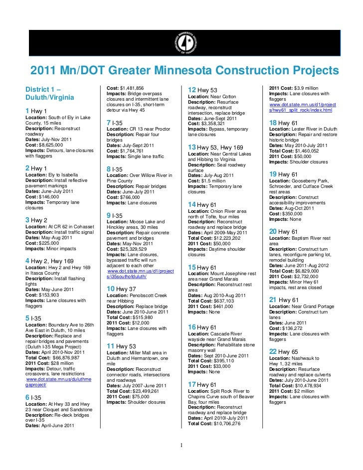 2011 Mn/DOT Greater Minnesota Construction ProjectsDistrict 1 –                          Cost: $1,481,856                 ...