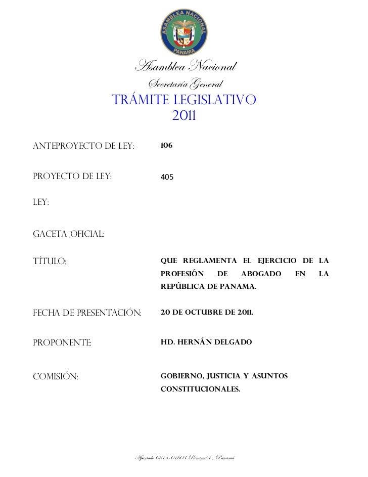 Asamblea Nacional                       Secretaría General                   TRÁMITE LEGISLATIVO                          ...