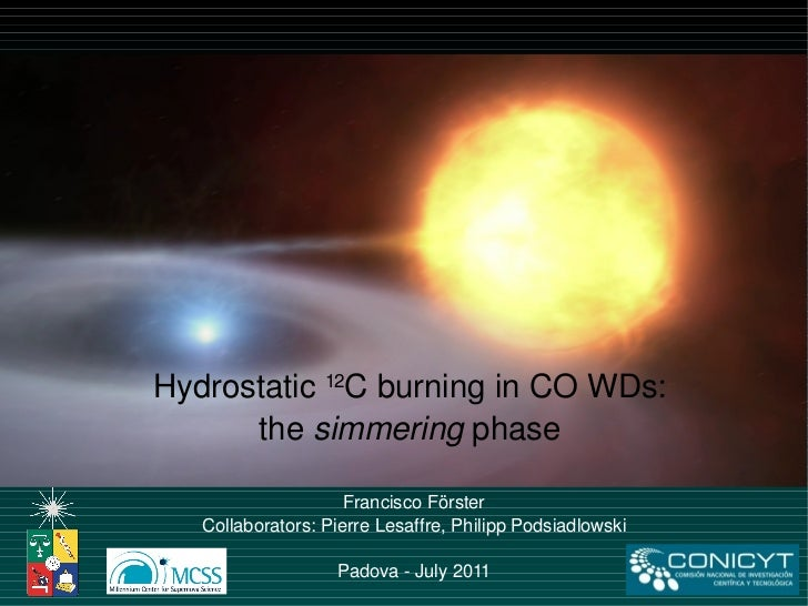 Francisco Förster Collaborators: Pierre Lesaffre, Philipp Podsiadlowski Padova - July 2011 Hydrostatic  12 C burning in CO...