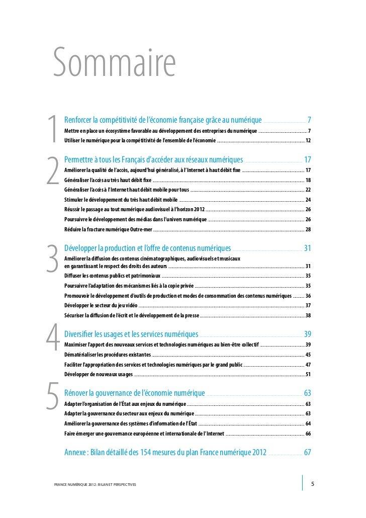 Sommaire1    Renforcer la compétitivité de l'économie française grâce au numérique     Mettre en place un écosystème favor...