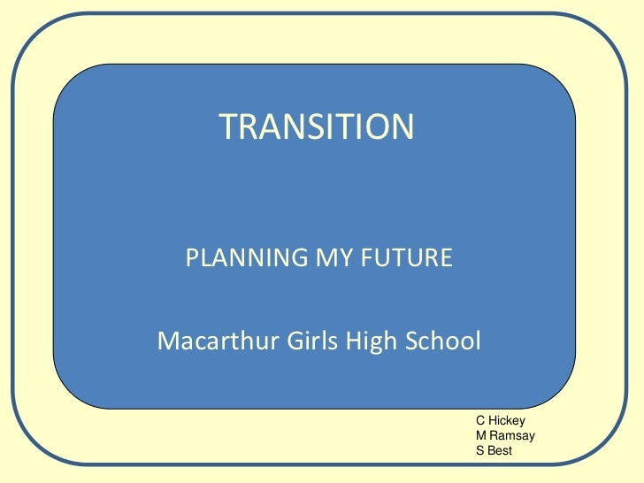 TRANSITION<br />PLANNING MY FUTURE<br />Macarthur Girls High School<br />C Hickey<br />M Ramsay<br />S Best<br />