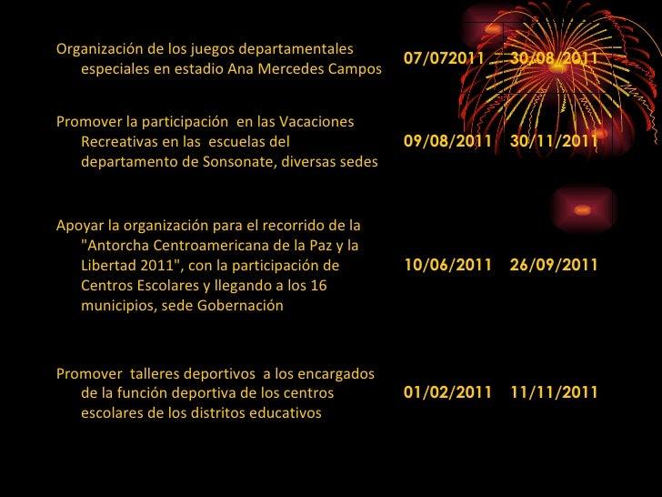 Organización de los juegos departamentales especiales en estadio Ana Mercedes Campos 07/072011 30/08/2011 Promover la part...