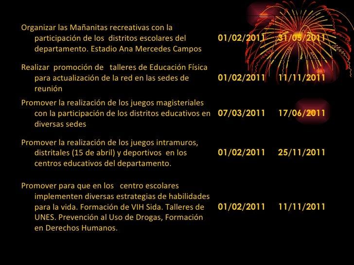 Organizar las Mañanitas recreativas con la participación de los  distritos escolares del departamento. Estadio Ana Mercede...