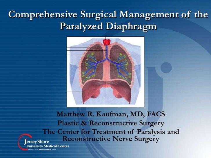 Comprehensive Surgical Management of the Paralyzed Diaphragm Matthew R. Kaufman, MD, FACS Plastic & Reconstructive Surgery...