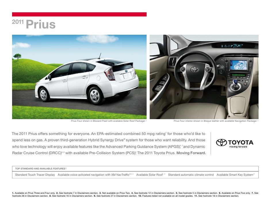 2011             Prius                                                         Prius Four shown in Blizzard Pearl with ava...