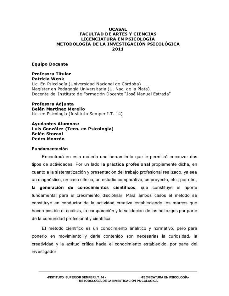 UCASAL                      FACULTAD DE ARTES Y CIENCIAS                       LICENCIATURA EN PSICOLOGÍA               ME...