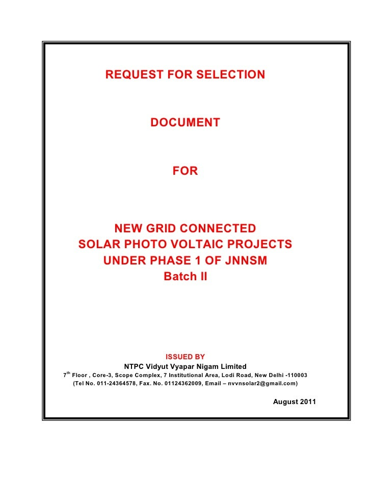 REQUEST FOR SELECTION                             DOCUMENT                                     FOR          NEW GRID CONNE...