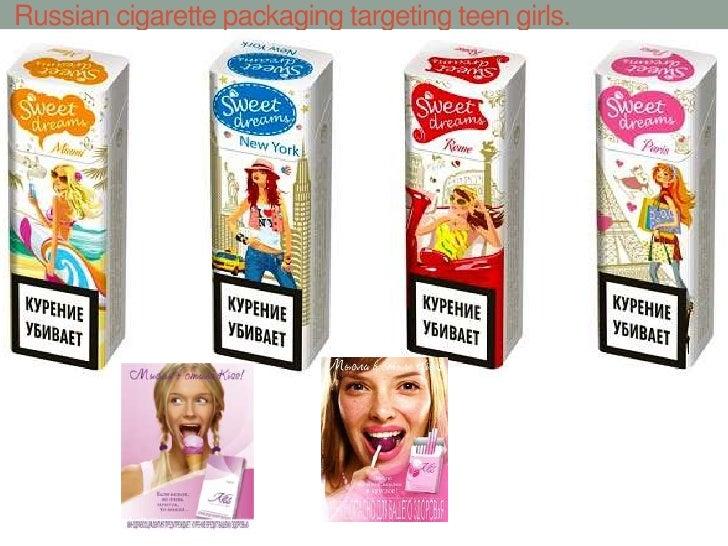 Russian cigarette packaging targeting teen girls.<br />