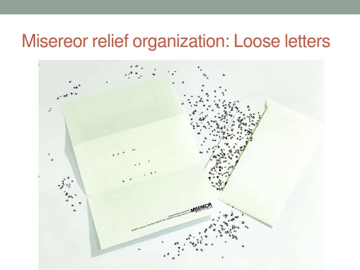 Misereor relief organization: Loose letters<br />