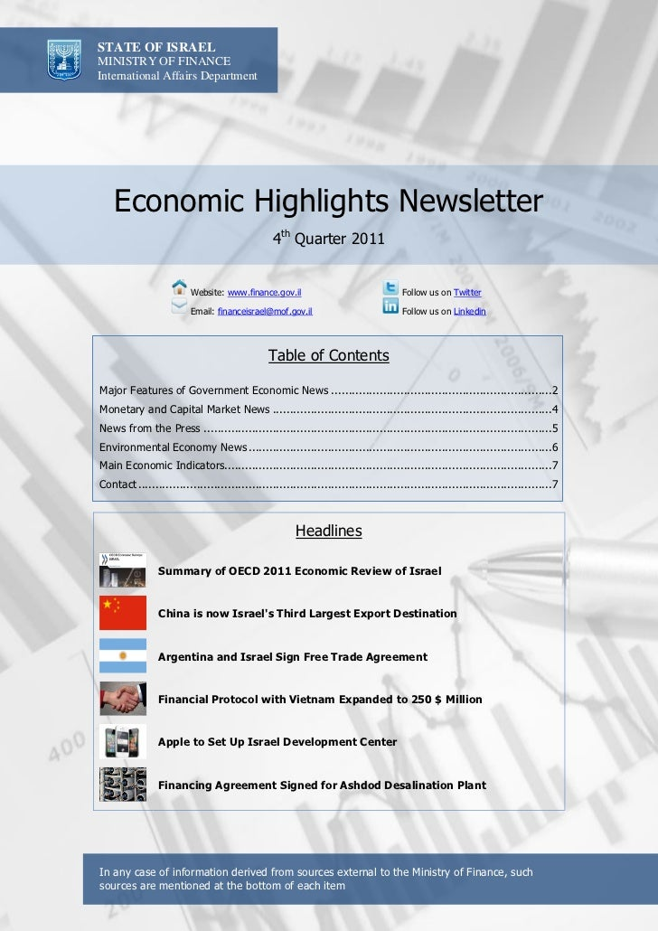 STATE OF ISRAELMINISTRY OF FINANCEInternational Affairs Department    Economic Highlights Newsletter                      ...