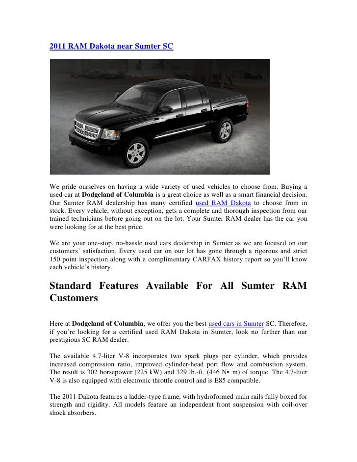 Car Dealerships In Sumter Sc >> 2011 Ram Dakota Near Sumter Sc