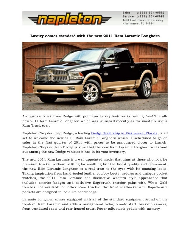 Luxury Comes Standard With The New 2011 Ram Laramie Longhorn An Upscale  Truck From Dodge With ...