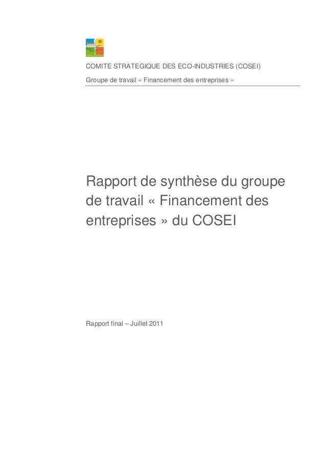 COMITE STRATEGIQUE DES ECO-INDUSTRIES (COSEI) Groupe de travail « Financement des entreprises » Rapport de synthèse du gro...