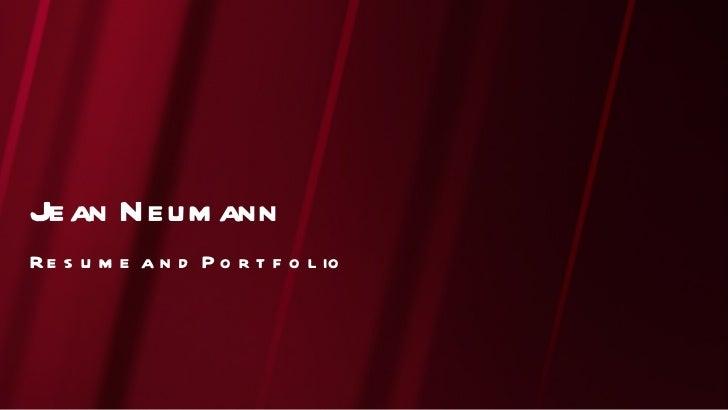 Resume and Portfolio Jean Neumann