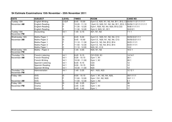 S4 Estimate Examinations 15th November - 25th November 2011DATE              SUBJECT               LEVEL    TIMES         ...