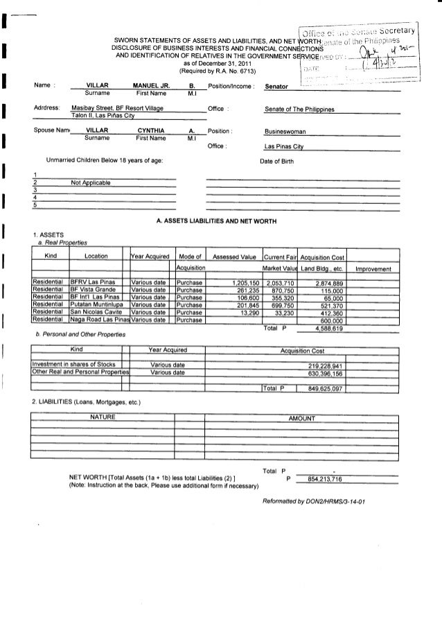 2011 statement of assets liabilities and net worth of for Asset and liability statement template