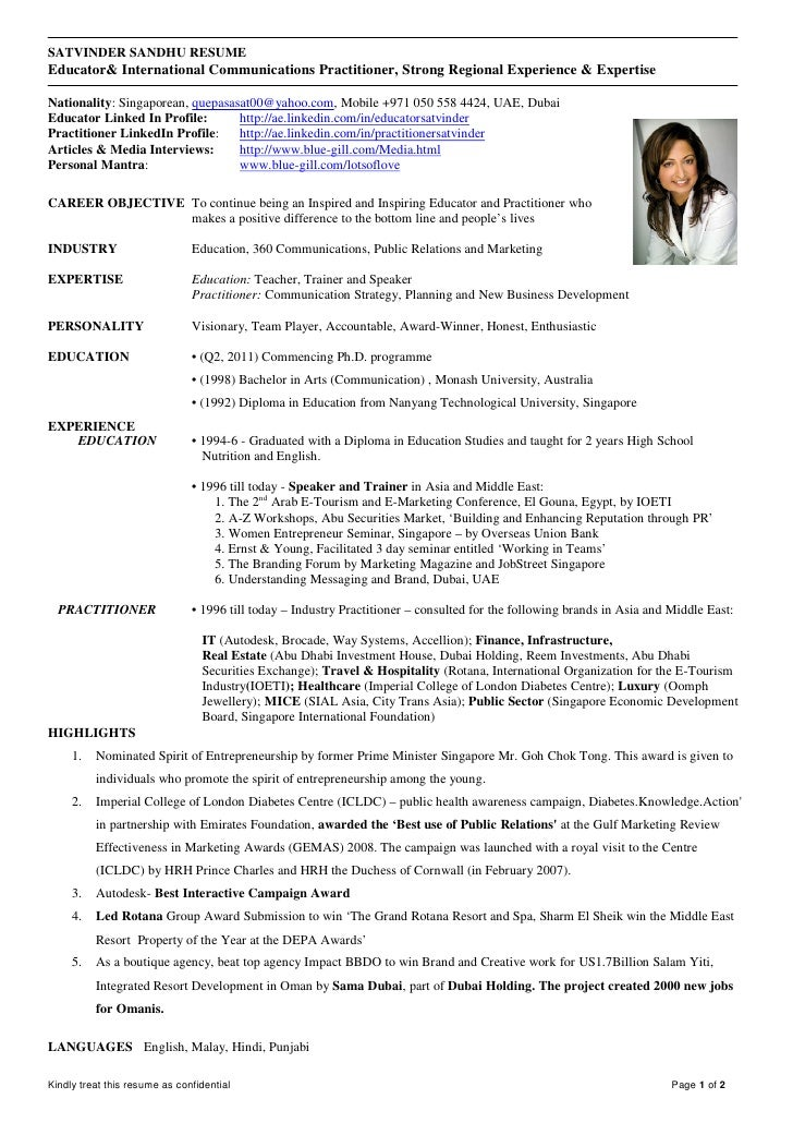 2011 satvinder sandhu resume educator and communication practitioner