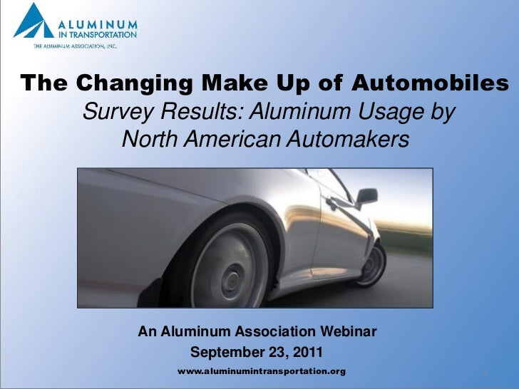 The Changing Make Up of Automobiles    Survey Results: Aluminum Usage by       North American Automakers        An Aluminu...