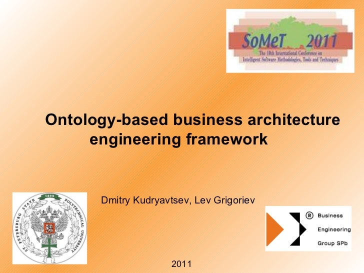 Ontology-based business architecture engineering framework Dmitry Kudryavtsev, Lev Grigoriev 20 11