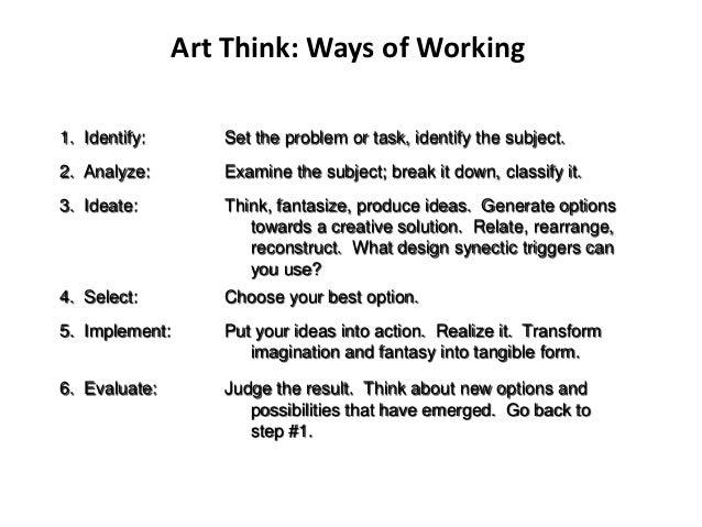 Art Think: Ways of Working1. Identify:       Set the problem or task, identify the subject.2. Analyze:        Examine the ...