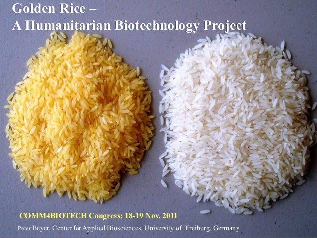 Golden Rice –A Humanitarian Biotechnology Project COMM4BIOTECH Congress; 18-19 Nov. 2011Peter Beyer, Center for Applied Bi...