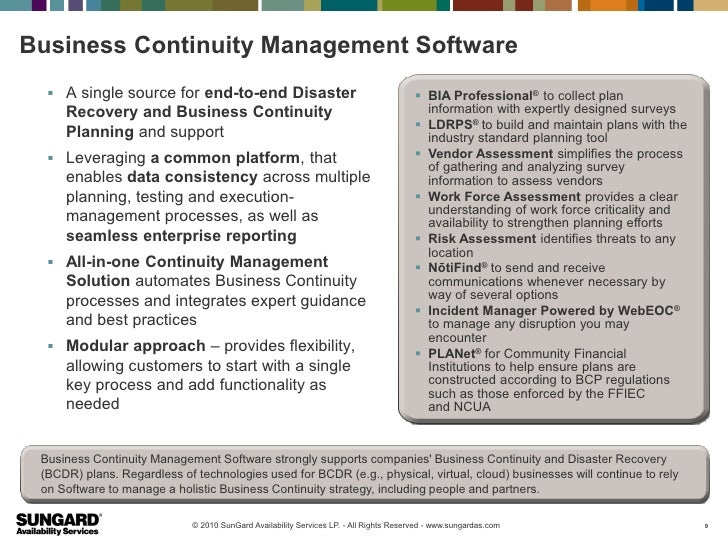 Business Continuity Management Software   A single source for end-to-end Disaster                                        ...