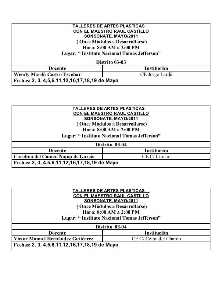 TALLERES DE ARTES PLASTICAS                         CON EL MAESTRO RAUL CASTILLO                             SONSONATE, MA...