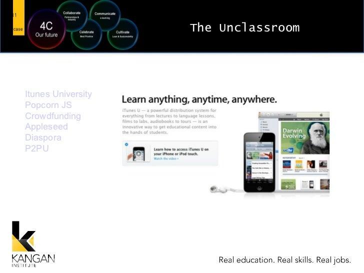 The Unclassroom Itunes University Popcorn JS Crowdfunding Appleseed Diaspora P2PU