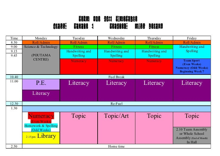 TERM ONE 2011 TIMETABLE                         Class:       Takahe 1      Teacher: Miss DelanyTime           Monday      ...