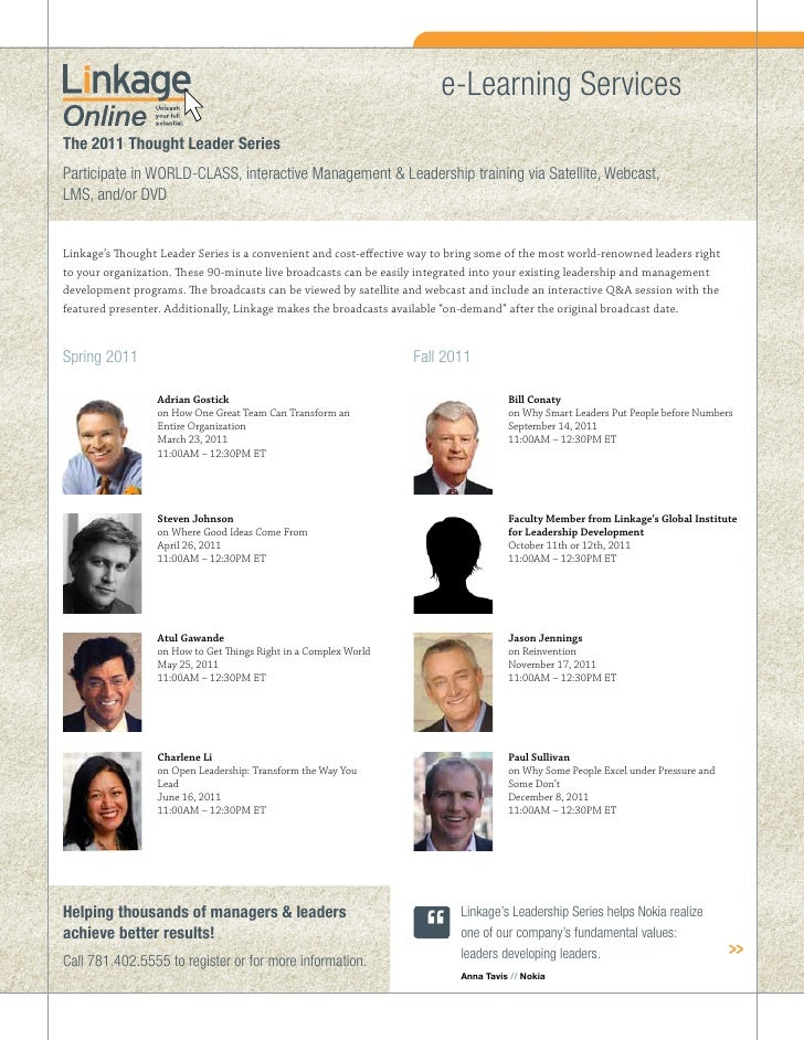 e-Learning ServicesThe 2011 Thought Leader SeriesParticipate in WORLD-CLASS, interactive Management & Leadership training ...