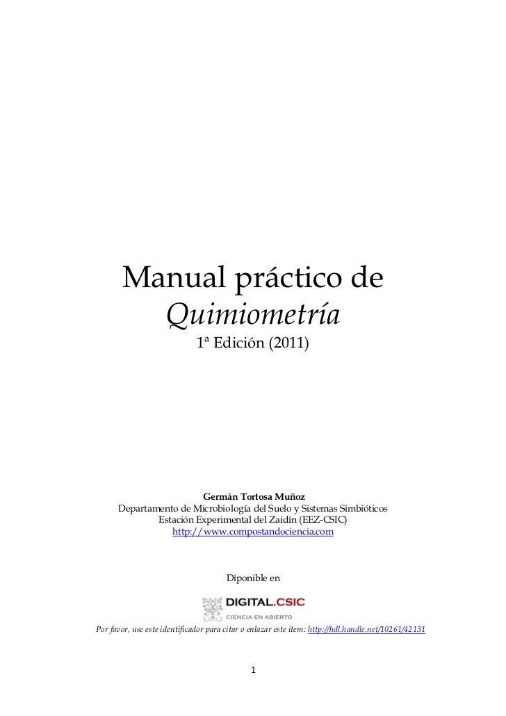 Manual práctico de         Quimiometría                              1ª Edición (2011)                        Germán Torto...