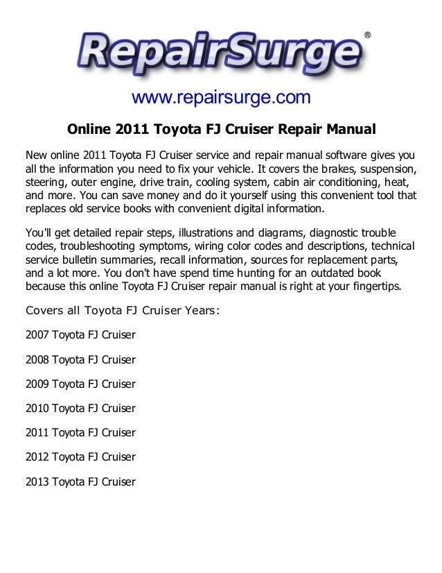 2011 toyota fj cruiser repair manual service manual online rh slideshare net fj cruiser repair manual 2013 2007 fj cruiser repair manual pdf