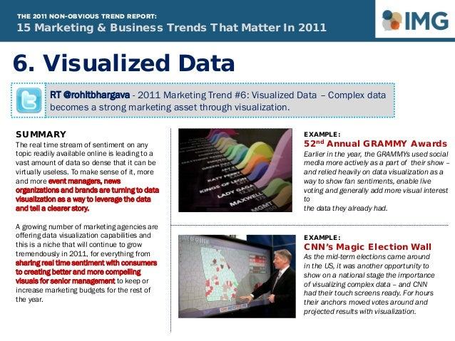 RT @rohitbhargava - 2011 Marketing Trend #6: Visualized Data – Complex data becomes a strong marketing asset through visua...
