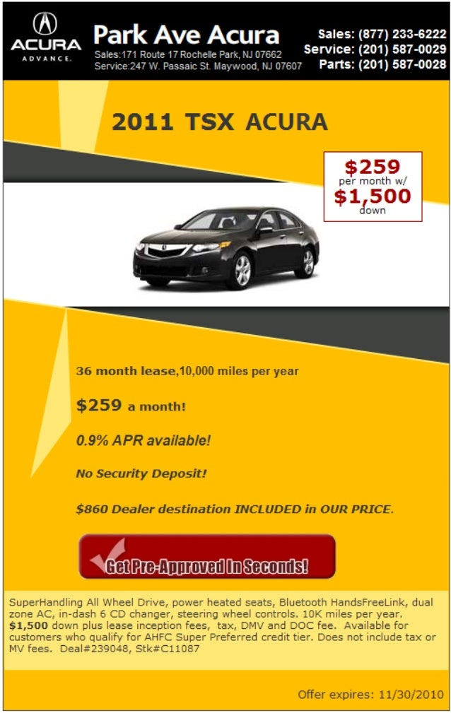 TSX Acura Lease Rochelle Park NJ - Park ave acura parts