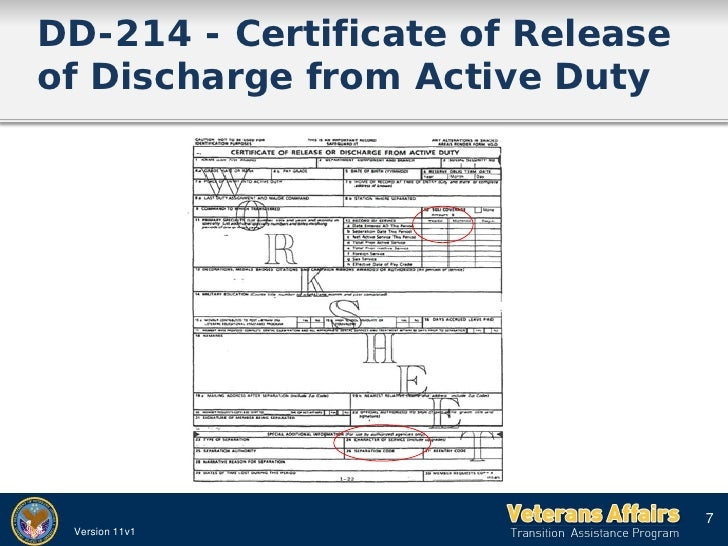 2011 VA TAP PRESENTATION – Dd 214 Worksheet
