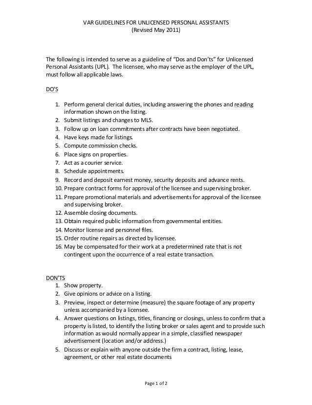 VAR GUIDELINES FOR UNLICENSED PERSONAL ASSISTANTS                                                (Revised Ma...