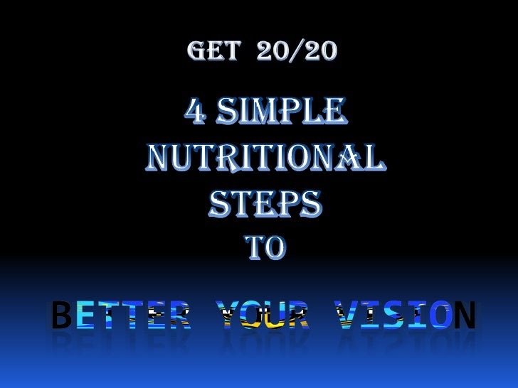 Get  20/20<br />4 Simple Nutritional StepsTo <br />BETTER YOUR VISION<br />