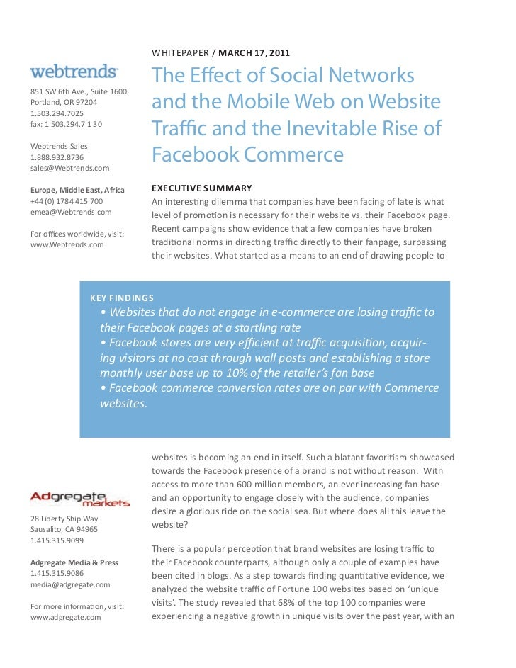 Whitepaper / March 17, 2011                                The Effect of Social Networks851 SW 6th Ave., Suite 1600Portlan...
