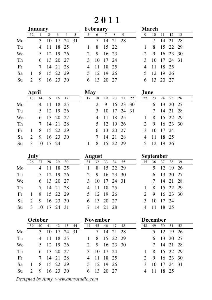 2011 Calendario.Calendario 2011 Em Semanas Iso