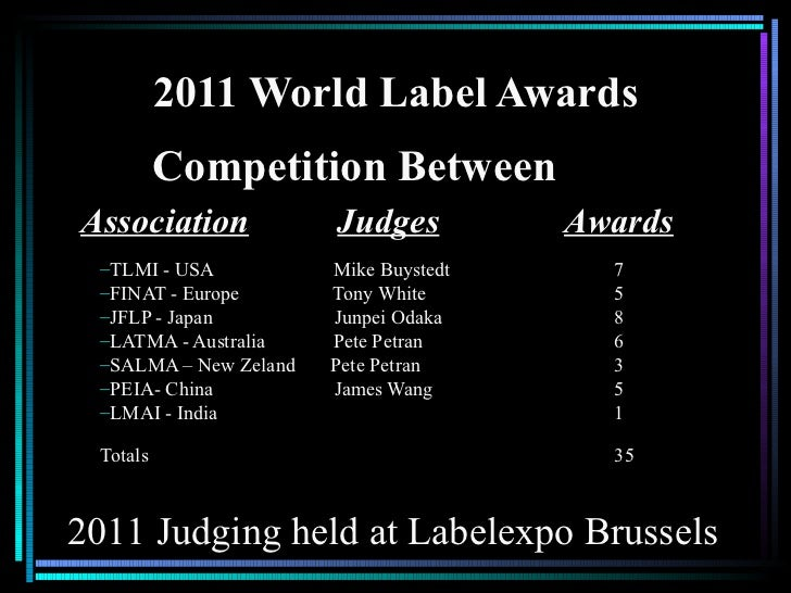 2011 World Label Awards          Competition BetweenAssociation            Judges          Awards –TLMI - USA           Mi...