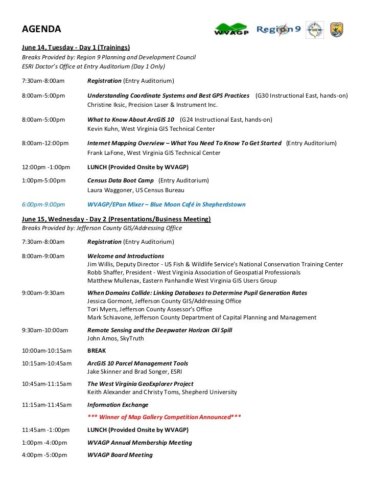 AGENDAJune 14, Tuesday - Day 1 (Trainings)Breaks Provided by: Region 9 Planning and Development CouncilESRI Doctor's Offic...