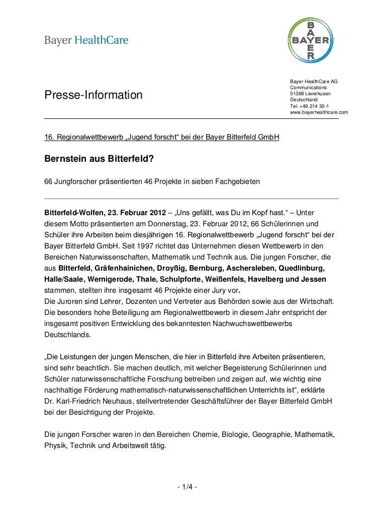 Bayer HealthCare AG                                                                          CommunicationsPresse-Informat...
