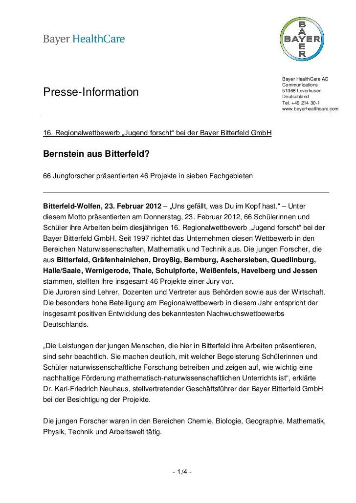 Bayer HealthCare AG                                                                          CommunicationsPresse-Informat...
