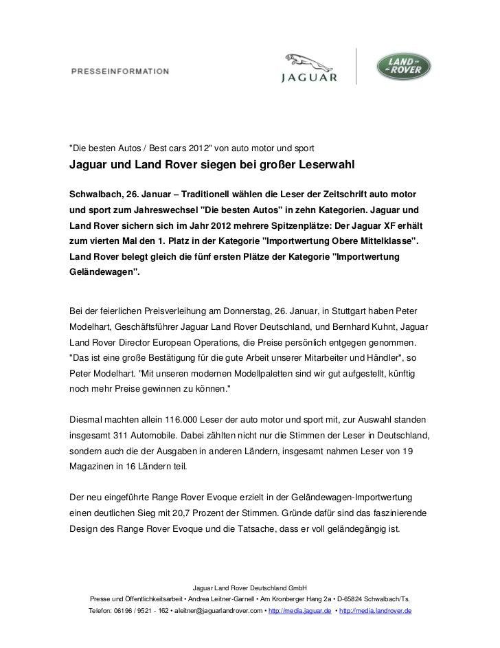 """""""Die besten Autos / Best cars 2012"""" von auto motor und sportJaguar und Land Rover siegen bei großer LeserwahlSchwalbach, 2..."""