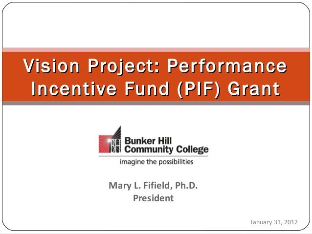 Mary L. Fifield, Ph.D. President Vision Project: PerformanceVision Project: Performance Incentive Fund (PIF) GrantIncentiv...