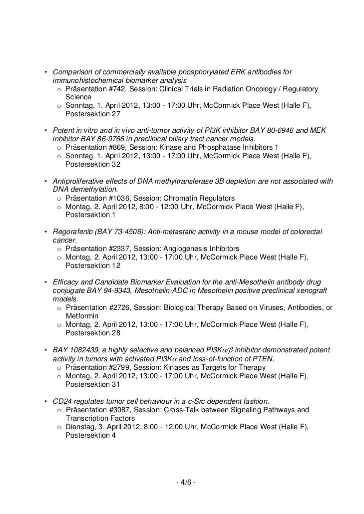• Comparison of commercially available phosphorylated ERK antibodies for  immunohistochemical biomarker analysis   o Präse...
