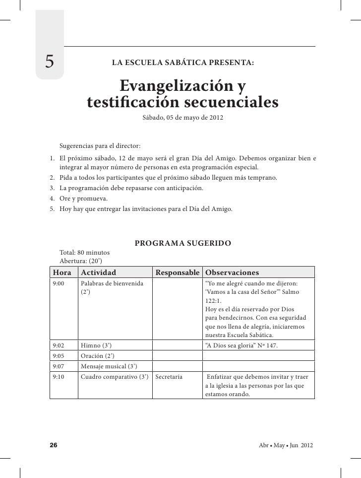 5                        LA ESCUELA SABÁTICA PRESENTA:                   Evangelización y              testificación secue...