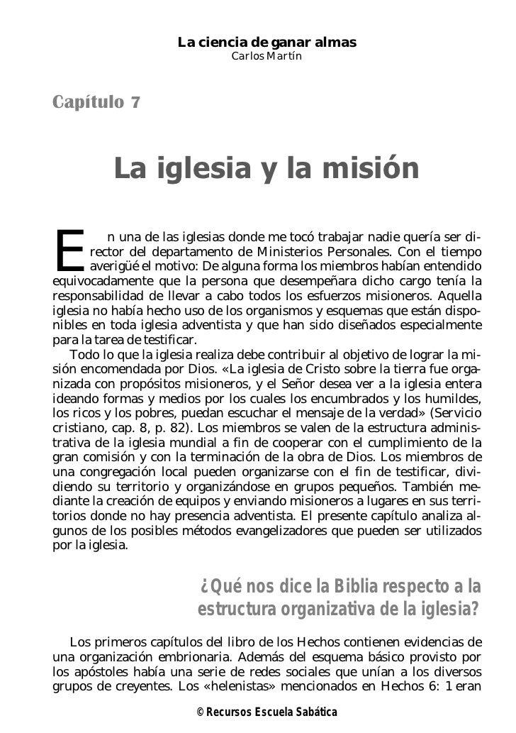 La ciencia de ganar almas                                Carlos MartínCapítulo 7           La iglesia y la misiónE        ...